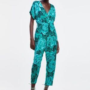 Zara- Teal floral jumpsuit